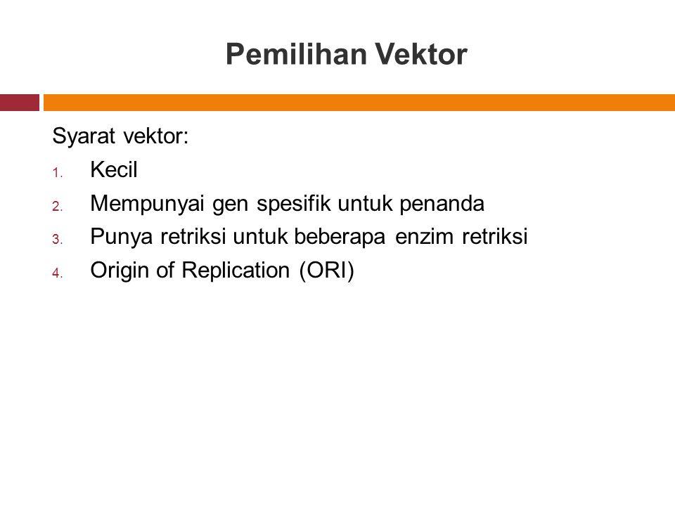 Pemilihan Vektor Syarat vektor: Kecil