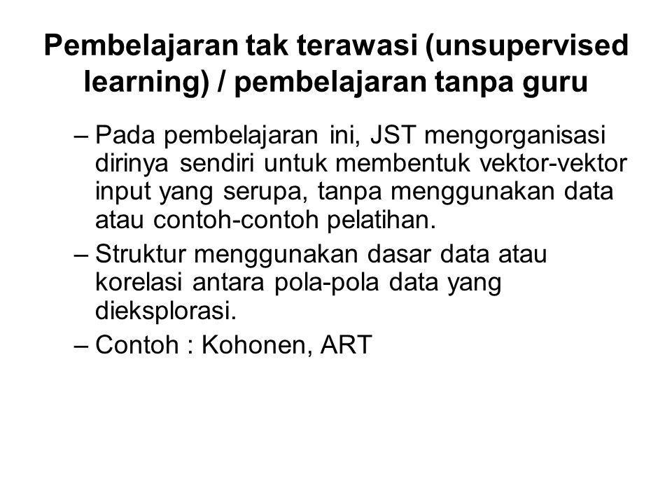 Pembelajaran tak terawasi (unsupervised learning) / pembelajaran tanpa guru