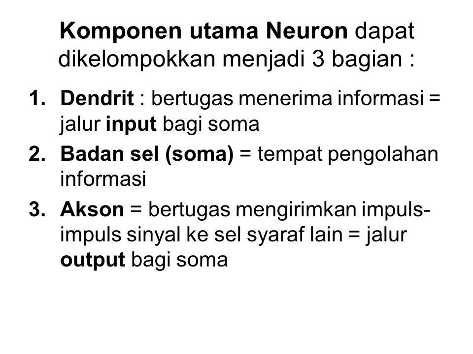 Komponen utama Neuron dapat dikelompokkan menjadi 3 bagian :