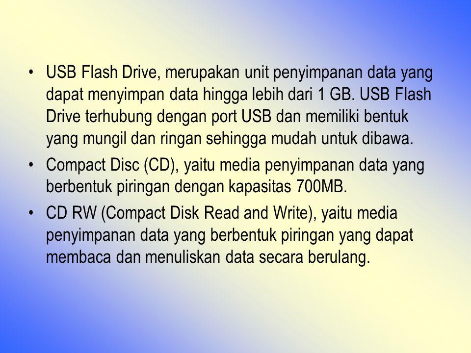 USB Flash Drive, merupakan unit penyimpanan data yang dapat menyimpan data hingga lebih dari 1 GB. USB Flash Drive terhubung dengan port USB dan memiliki bentuk yang mungil dan ringan sehingga mudah untuk dibawa.