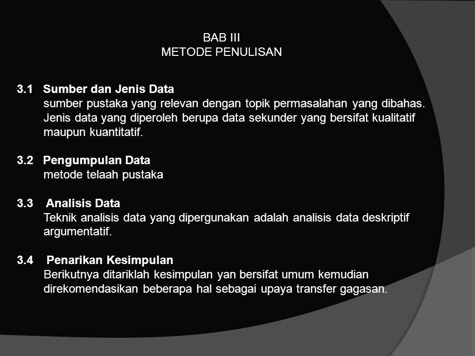 BAB III METODE PENULISAN. 3.1 Sumber dan Jenis Data.