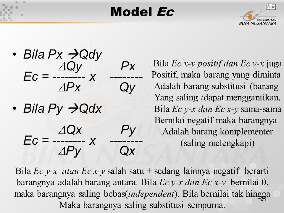 Ec = -------- x -------- Px Qy Bila Py Qdx Qx Py Py Qx