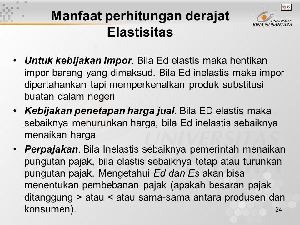 Manfaat perhitungan derajat Elastisitas