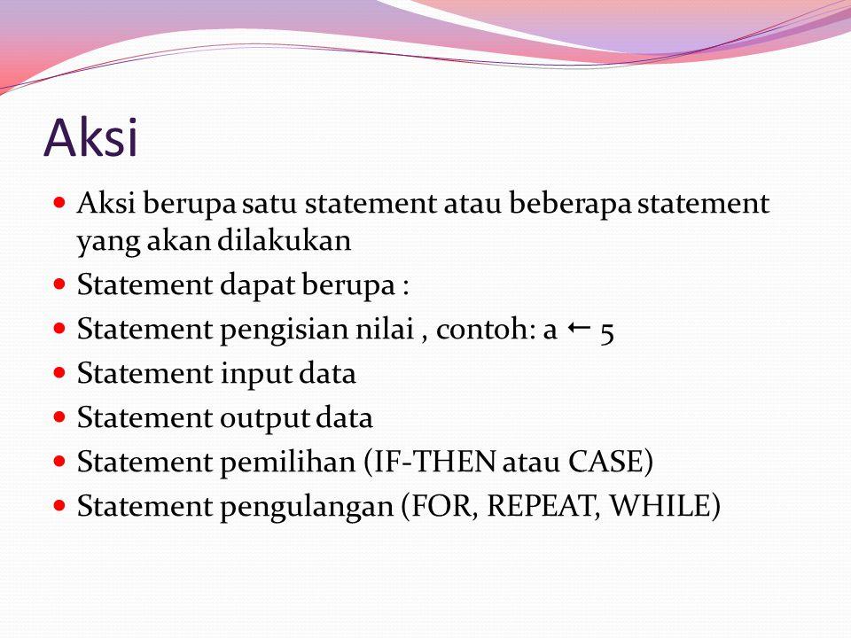 Aksi Aksi berupa satu statement atau beberapa statement yang akan dilakukan. Statement dapat berupa :