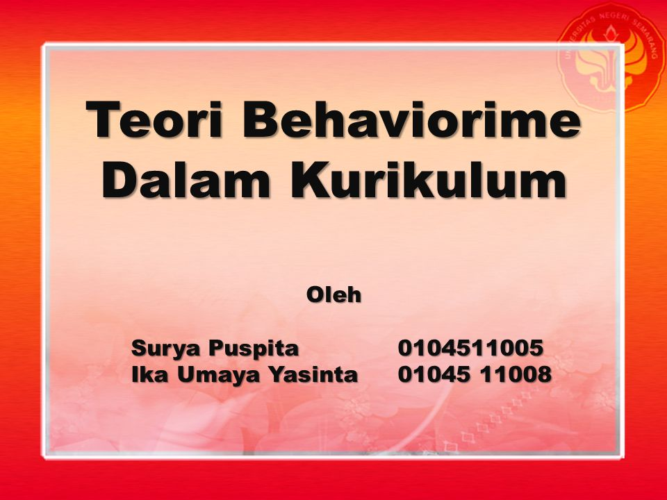 Teori Behaviorime Dalam Kurikulum
