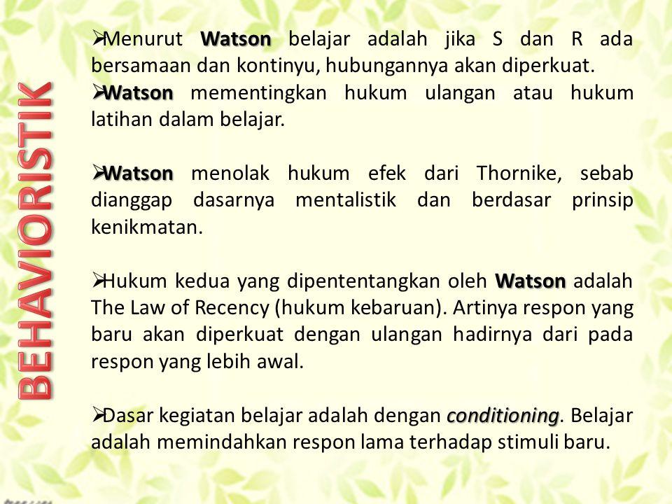Menurut Watson belajar adalah jika S dan R ada bersamaan dan kontinyu, hubungannya akan diperkuat.