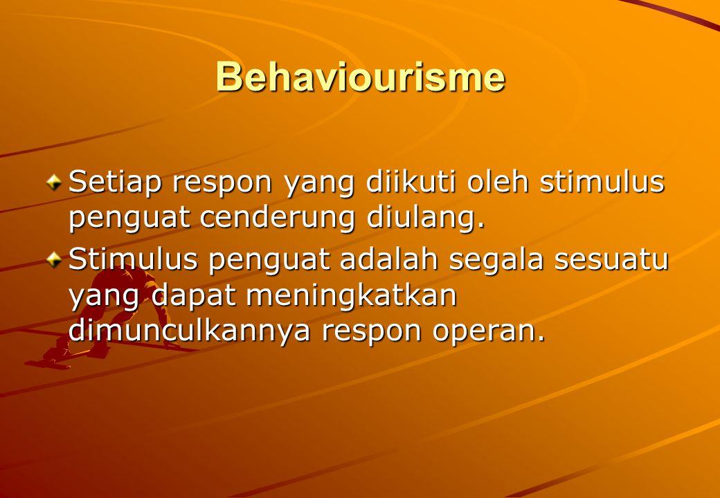 Behaviourisme Setiap respon yang diikuti oleh stimulus penguat cenderung diulang.