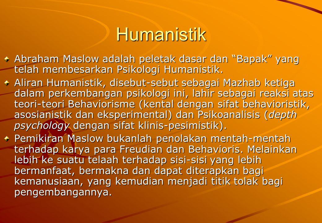 Humanistik Abraham Maslow adalah peletak dasar dan Bapak yang telah membesarkan Psikologi Humanistik.