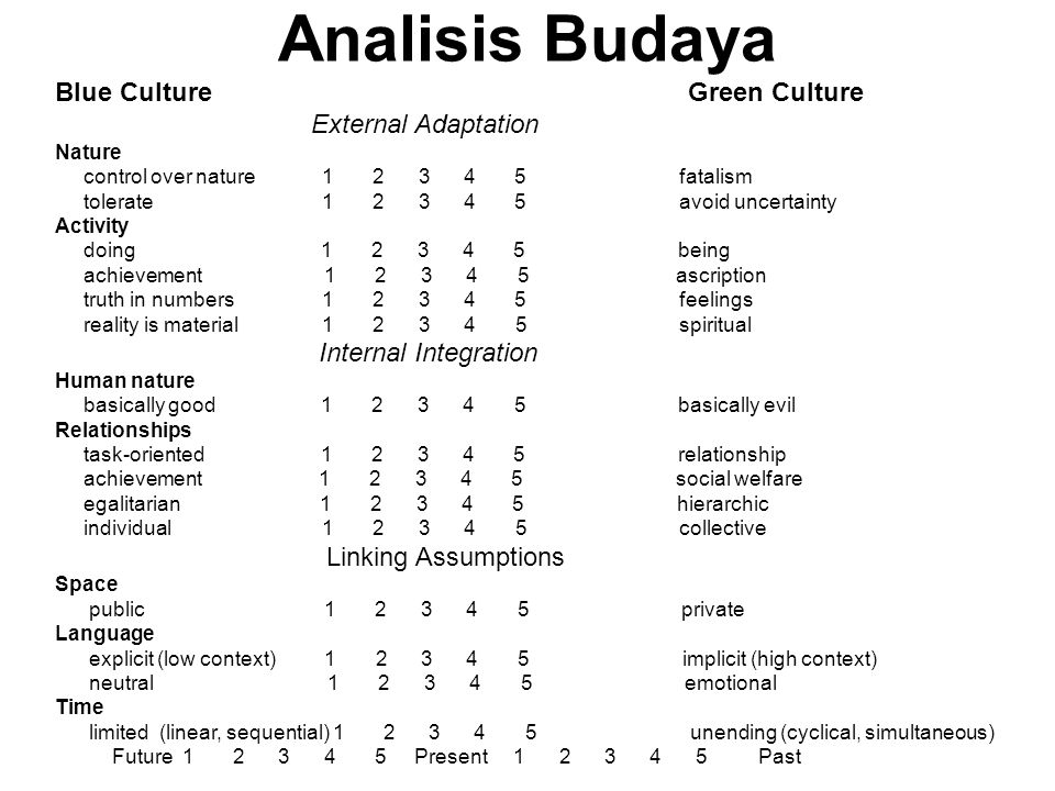 Analisis Budaya Blue Culture Green Culture External Adaptation