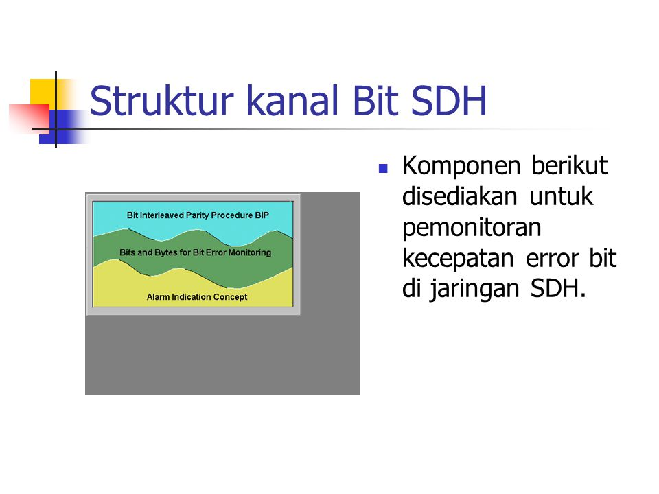 Struktur kanal Bit SDH Komponen berikut disediakan untuk pemonitoran kecepatan error bit di jaringan SDH.
