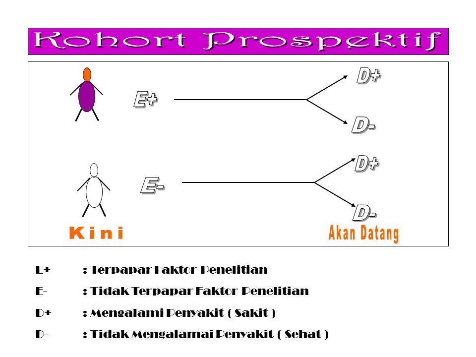 Kohort Prospektif D+ E+ D- E- Akan Datang Kini