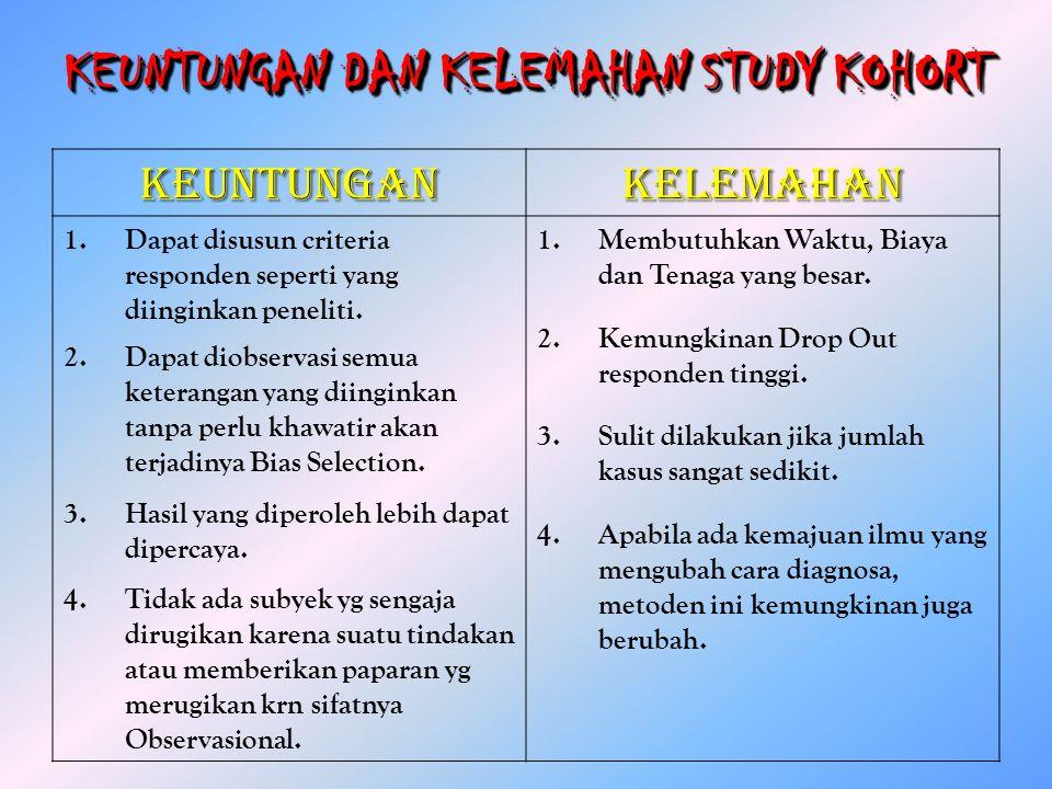 KEUNTUNGAN DAN KELEMAHAN STUDY KOHORT