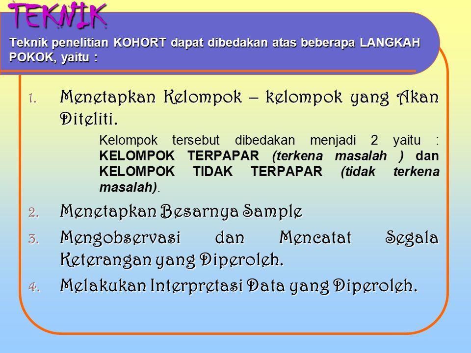 TEKNIK Teknik penelitian KOHORT dapat dibedakan atas beberapa LANGKAH POKOK, yaitu :