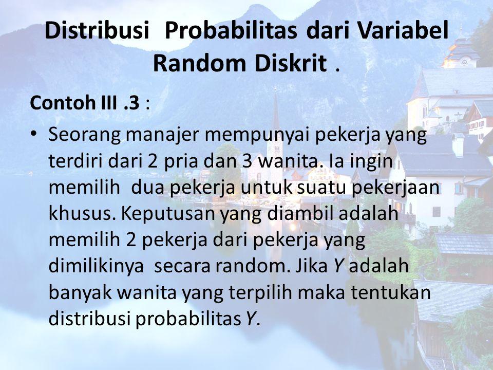 Distribusi Probabilitas dari Variabel Random Diskrit .