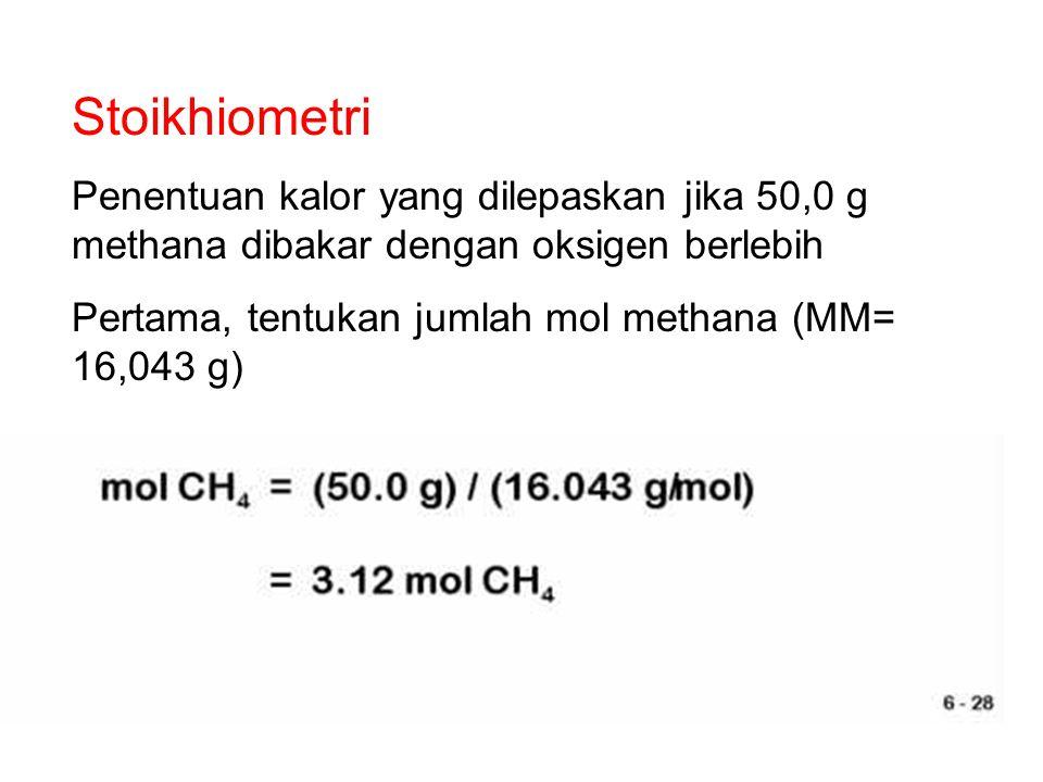 Stoikhiometri Penentuan kalor yang dilepaskan jika 50,0 g methana dibakar dengan oksigen berlebih.