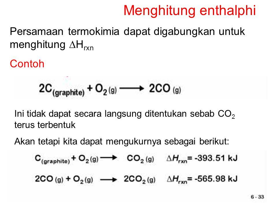 Menghitung enthalphi Persamaan termokimia dapat digabungkan untuk menghitung DHrxn. Contoh.