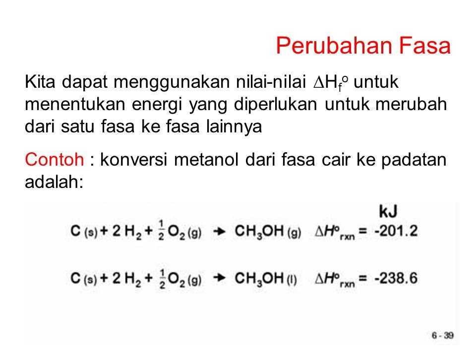 Perubahan Fasa Kita dapat menggunakan nilai-nilai DHfo untuk menentukan energi yang diperlukan untuk merubah dari satu fasa ke fasa lainnya.