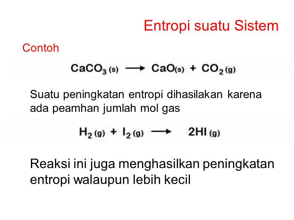 Entropi suatu Sistem Contoh. Suatu peningkatan entropi dihasilakan karena ada peamhan jumlah mol gas.