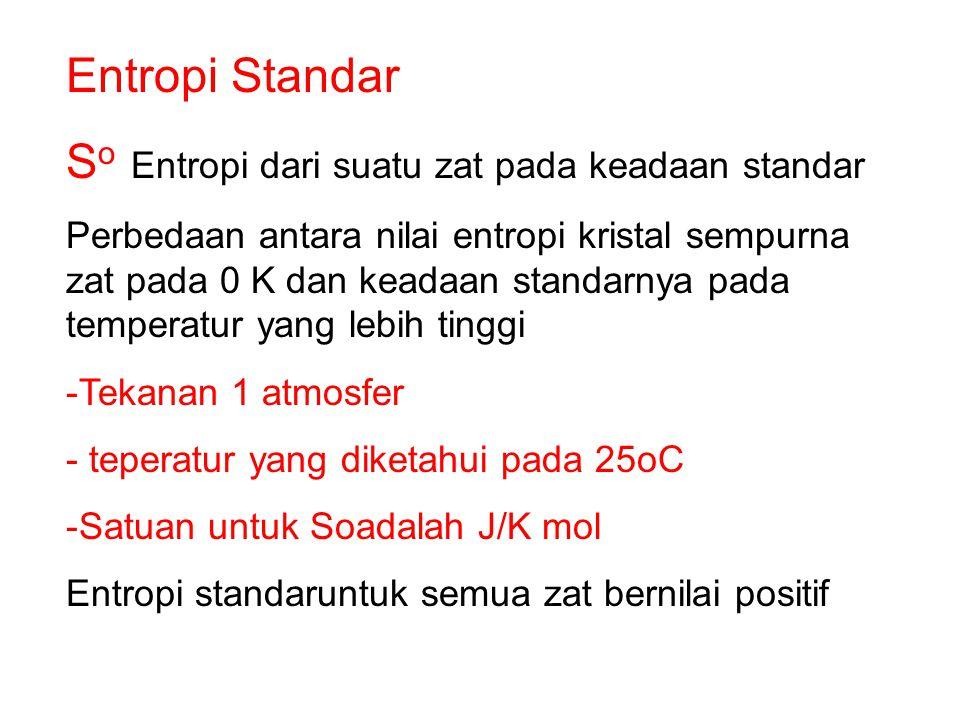 So Entropi dari suatu zat pada keadaan standar