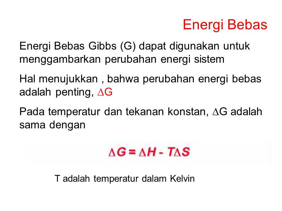 Energi Bebas Energi Bebas Gibbs (G) dapat digunakan untuk menggambarkan perubahan energi sistem.