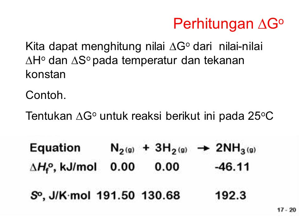 Perhitungan DGo Kita dapat menghitung nilai DGo dari nilai-nilai DHo dan DSo pada temperatur dan tekanan konstan.