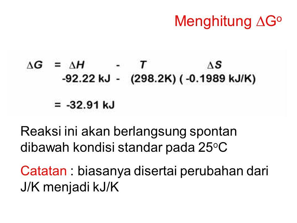 Menghitung DGo Reaksi ini akan berlangsung spontan dibawah kondisi standar pada 25oC.