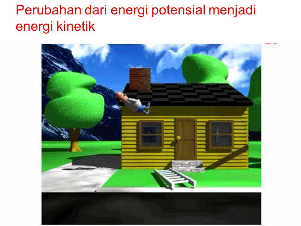 Perubahan dari energi potensial menjadi energi kinetik