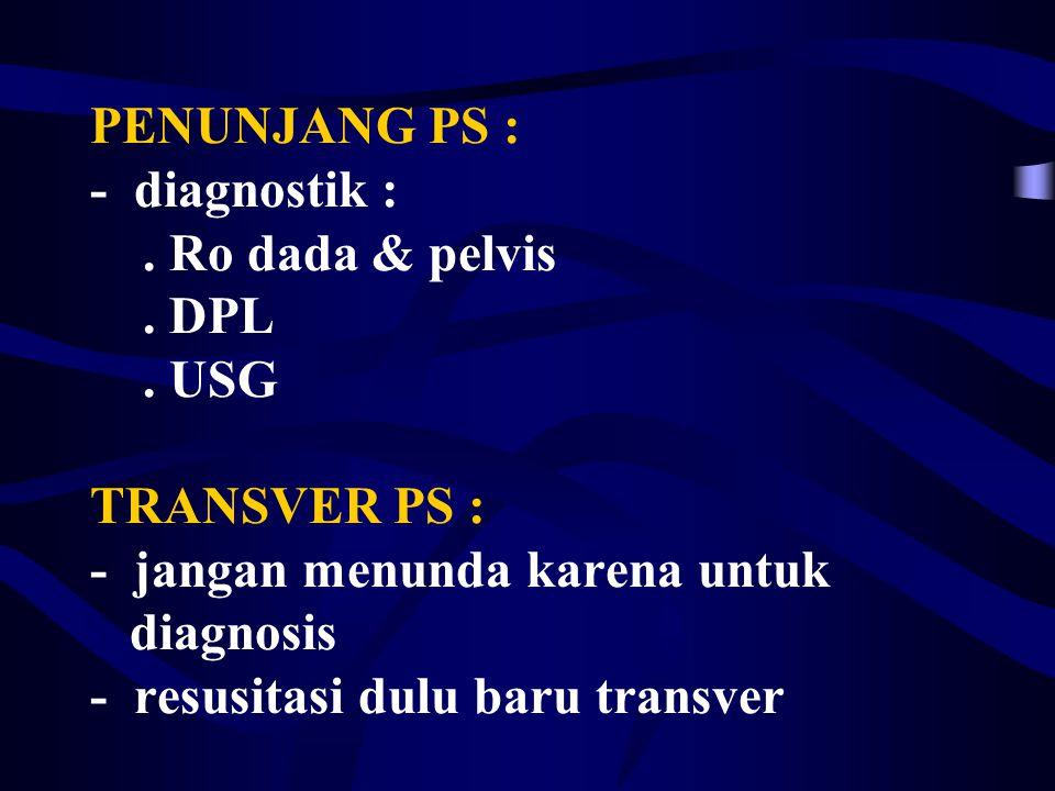 PENUNJANG PS : - diagnostik :. Ro dada & pelvis. DPL