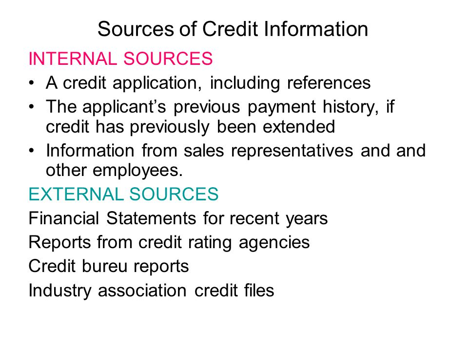 Sources of Credit Information