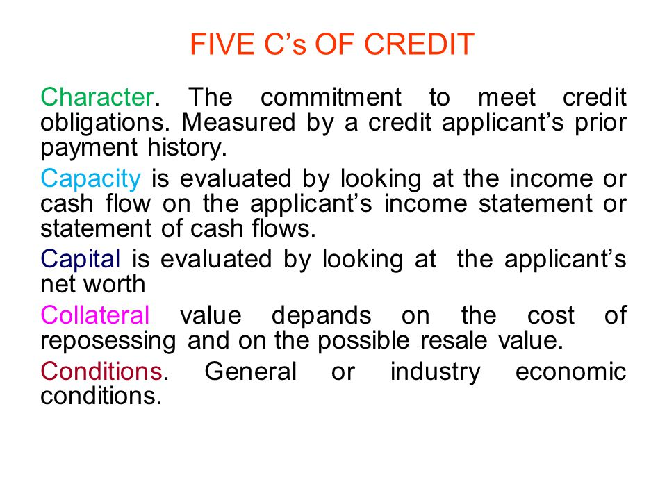 FIVE C's OF CREDIT