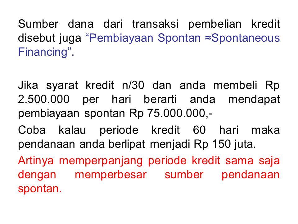 Sumber dana dari transaksi pembelian kredit disebut juga Pembiayaan Spontan ≈Spontaneous Financing .