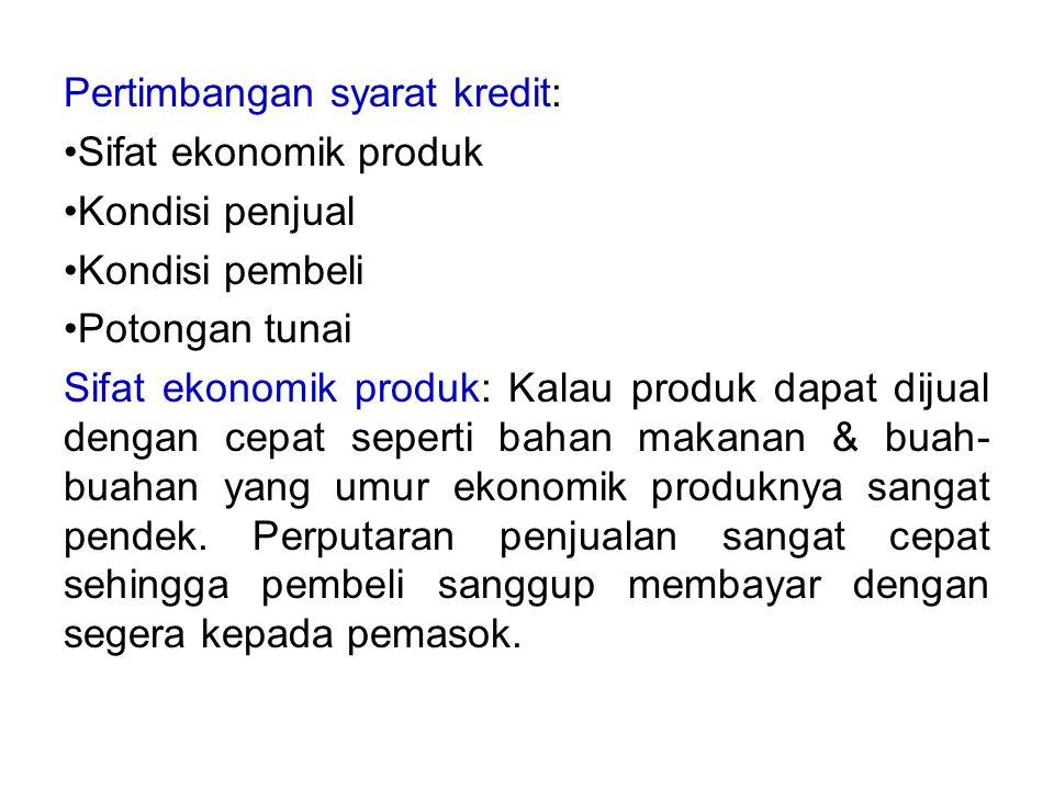 Pertimbangan syarat kredit: