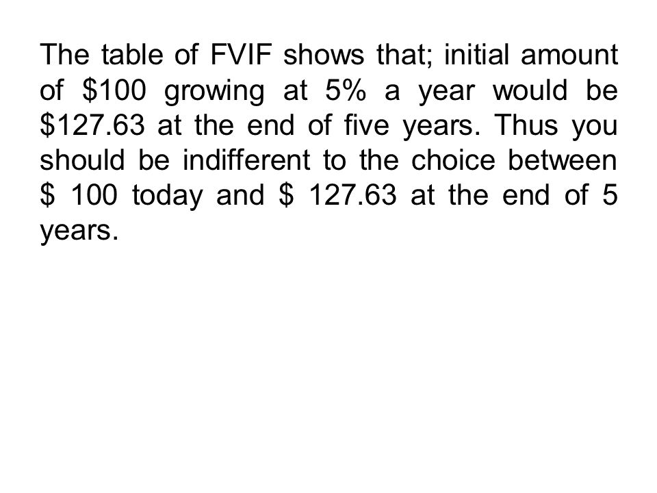 The table of FVIF shows that; initial amount of $100 growing at 5% a year would be $127.63 at the end of five years.