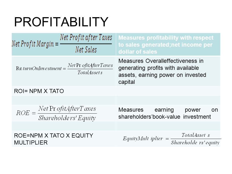 PROFITABILITY Measures profitability with respect to sales generated;net income per dollar of sales.