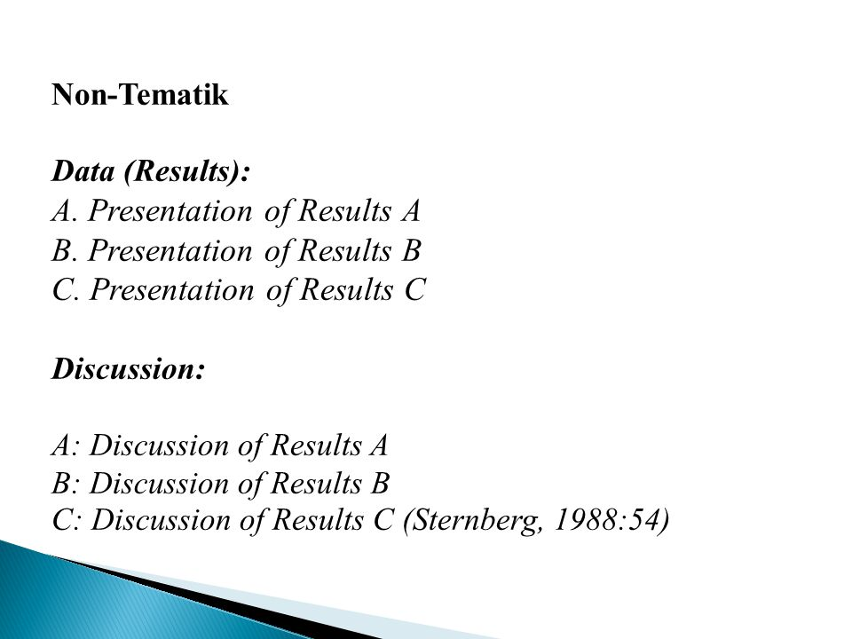 A. Presentation of Results A B. Presentation of Results B