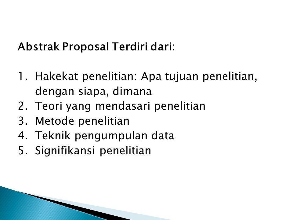 Abstrak Proposal Terdiri dari: 1