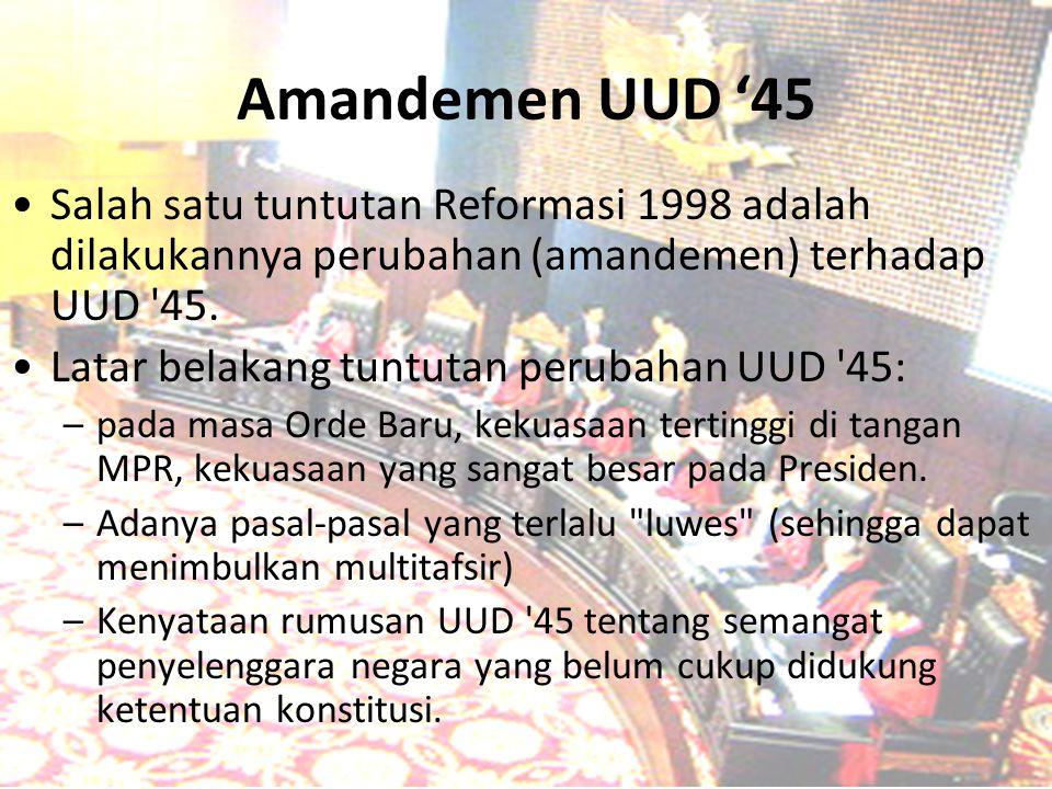 Amandemen UUD '45 Salah satu tuntutan Reformasi 1998 adalah dilakukannya perubahan (amandemen) terhadap UUD 45.