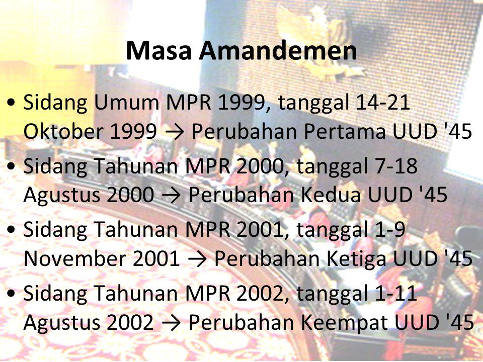 Masa Amandemen Sidang Umum MPR 1999, tanggal 14-21 Oktober 1999 → Perubahan Pertama UUD 45.