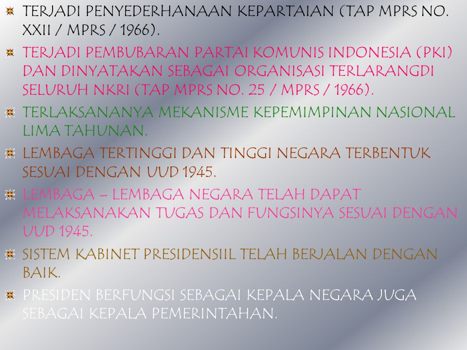 TERJADI PENYEDERHANAAN KEPARTAIAN (TAP MPRS NO. XXII / MPRS / 1966).