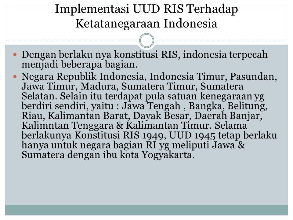 Implementasi UUD RIS Terhadap Ketatanegaraan Indonesia