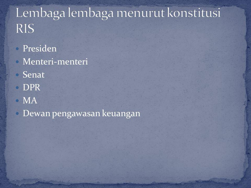 Lembaga lembaga menurut konstitusi RIS