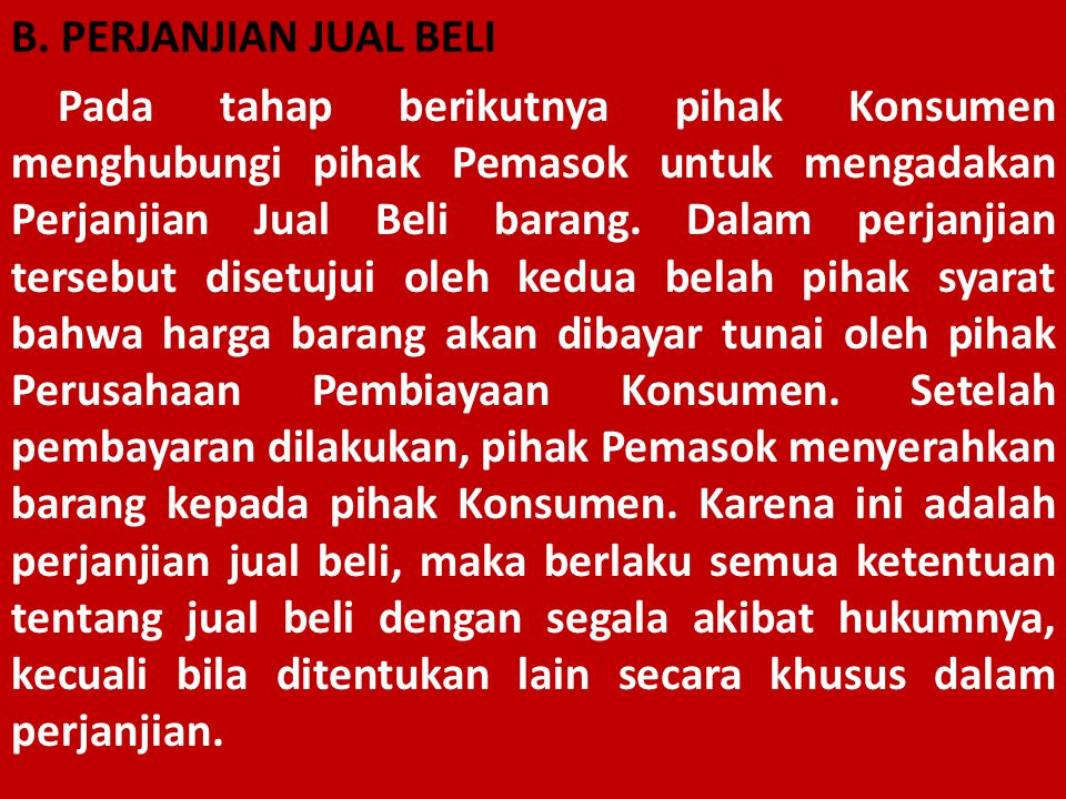 B. PERJANJIAN JUAL BELI