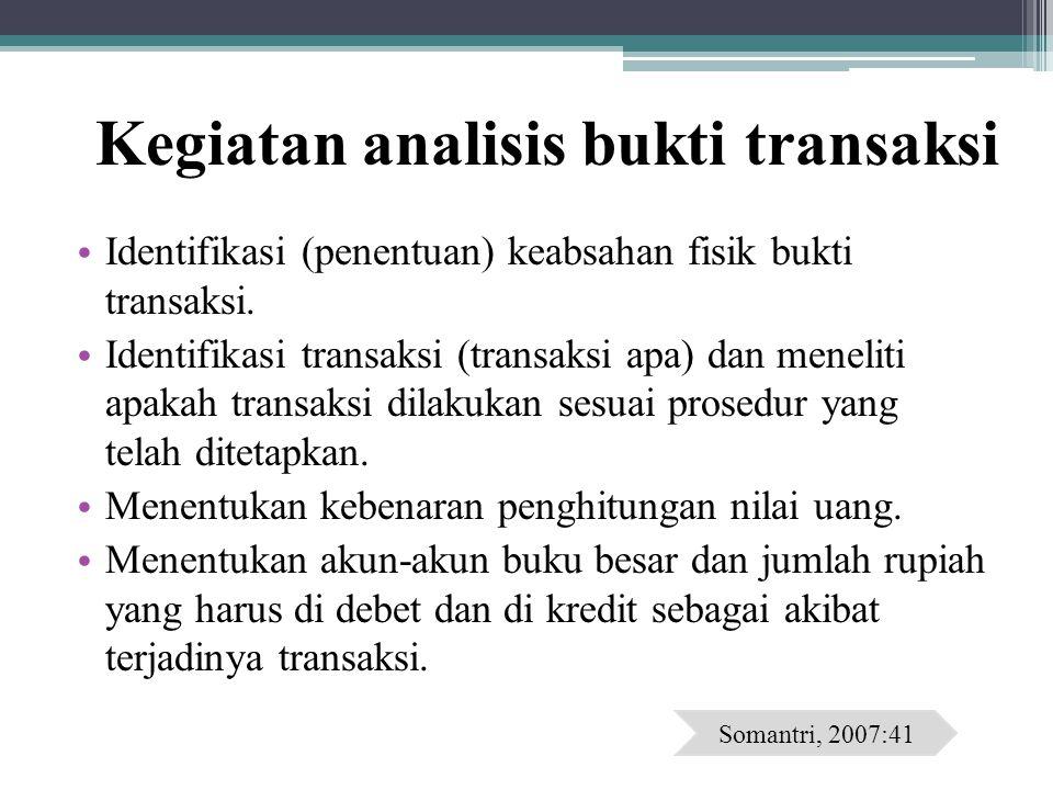 Kegiatan analisis bukti transaksi