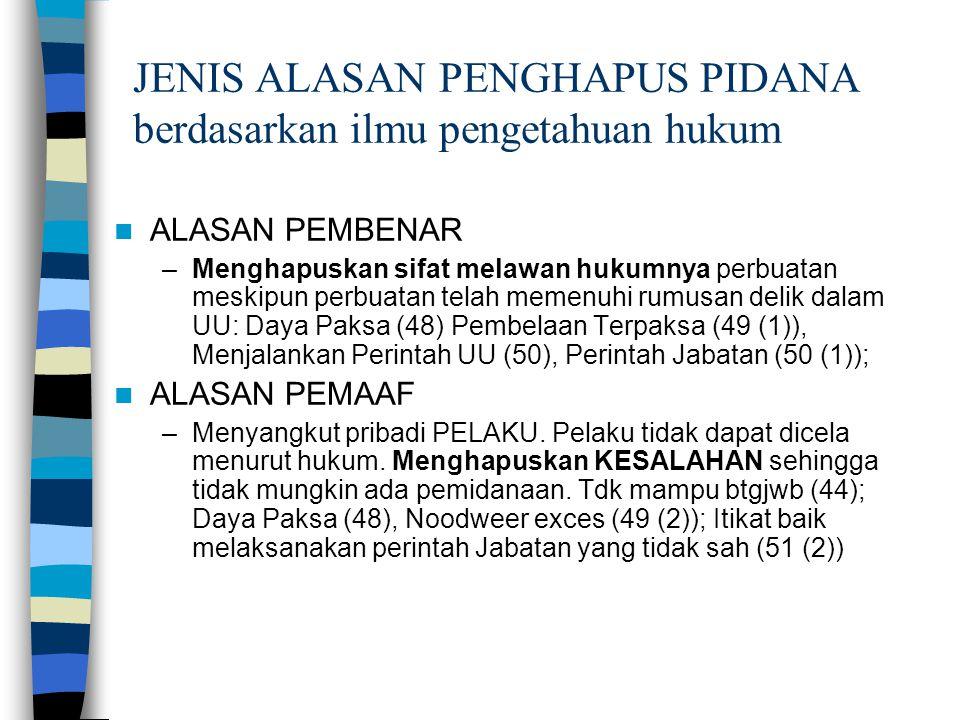 JENIS ALASAN PENGHAPUS PIDANA berdasarkan ilmu pengetahuan hukum
