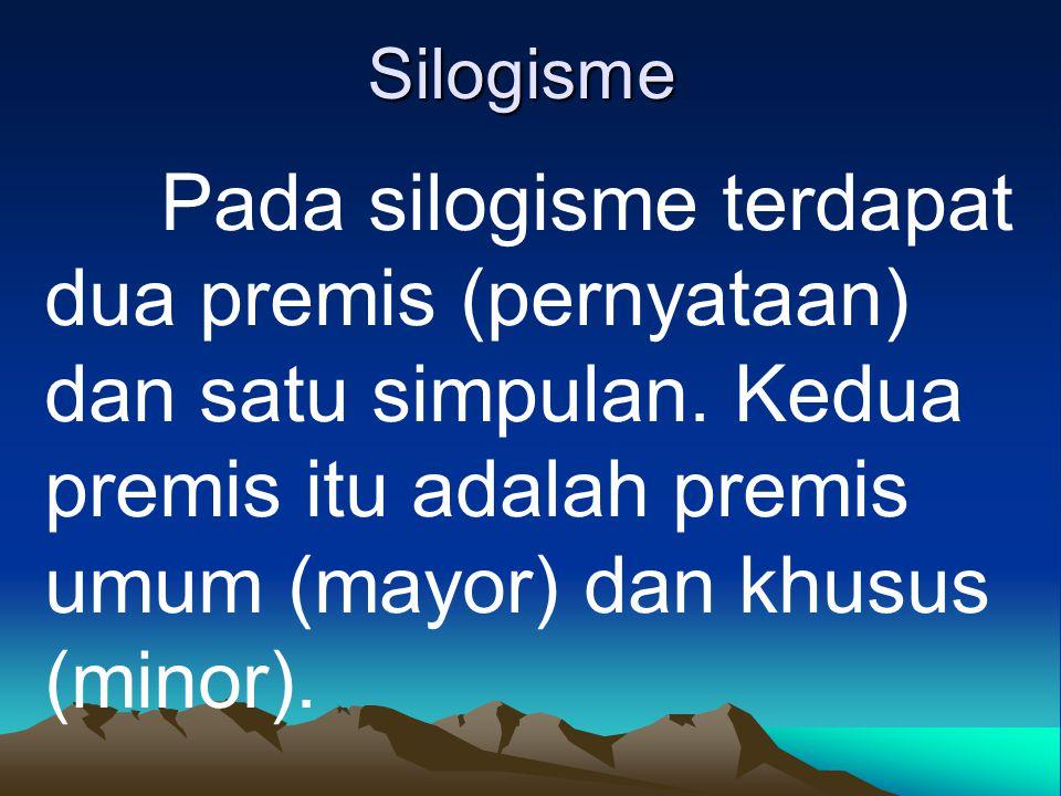 Silogisme Pada silogisme terdapat dua premis (pernyataan) dan satu simpulan.
