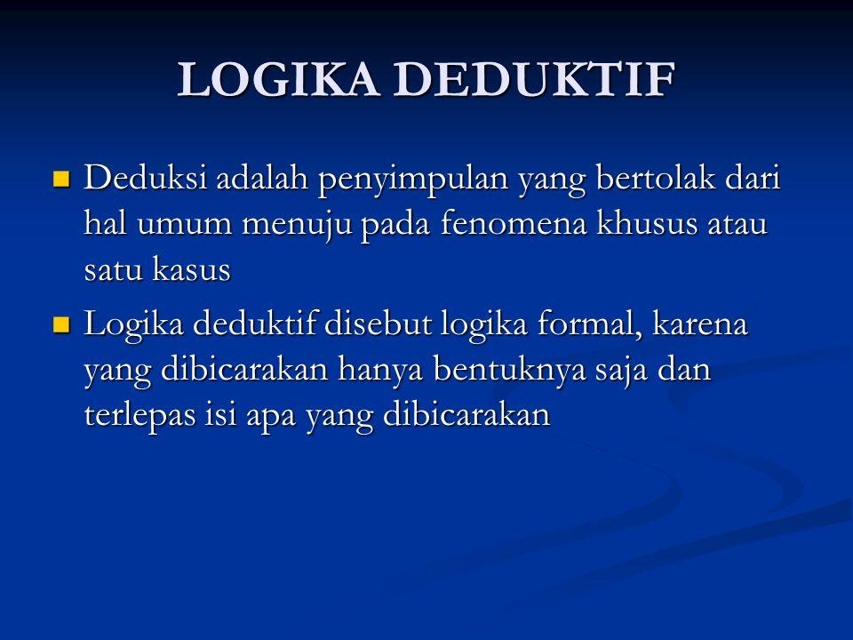 LOGIKA DEDUKTIF Deduksi adalah penyimpulan yang bertolak dari hal umum menuju pada fenomena khusus atau satu kasus.