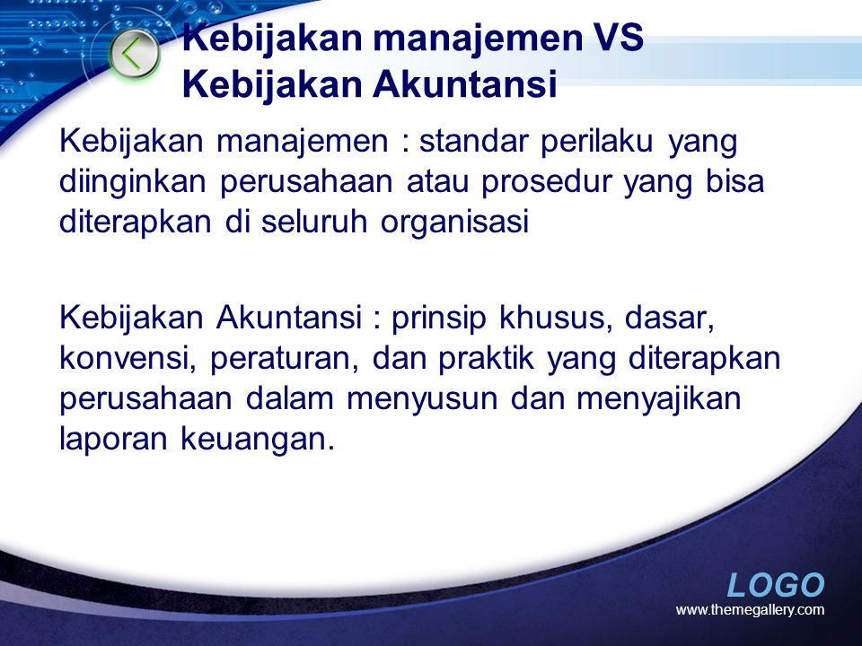 Kebijakan manajemen VS Kebijakan Akuntansi
