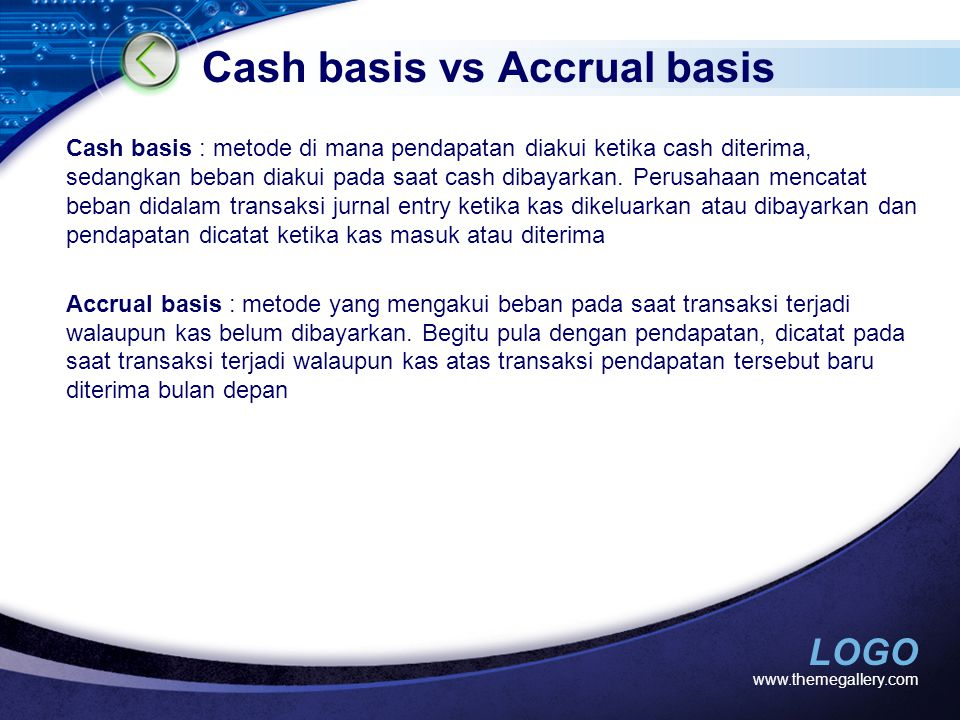 Cash basis vs Accrual basis