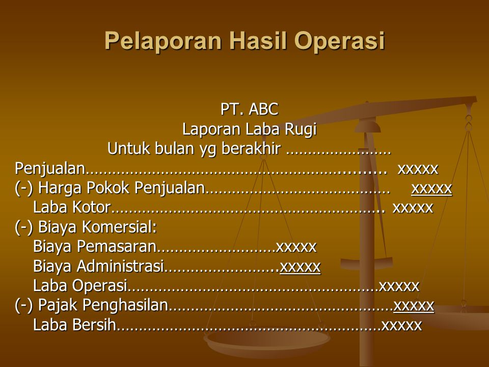 Pelaporan Hasil Operasi