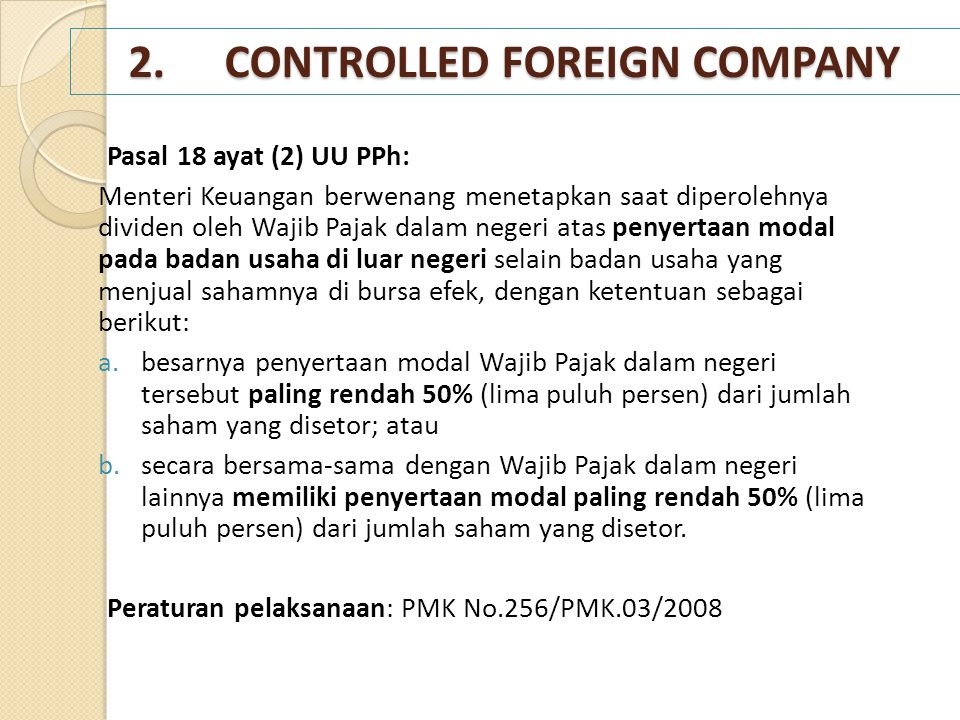 2. CONTROLLED FOREIGN COMPANY